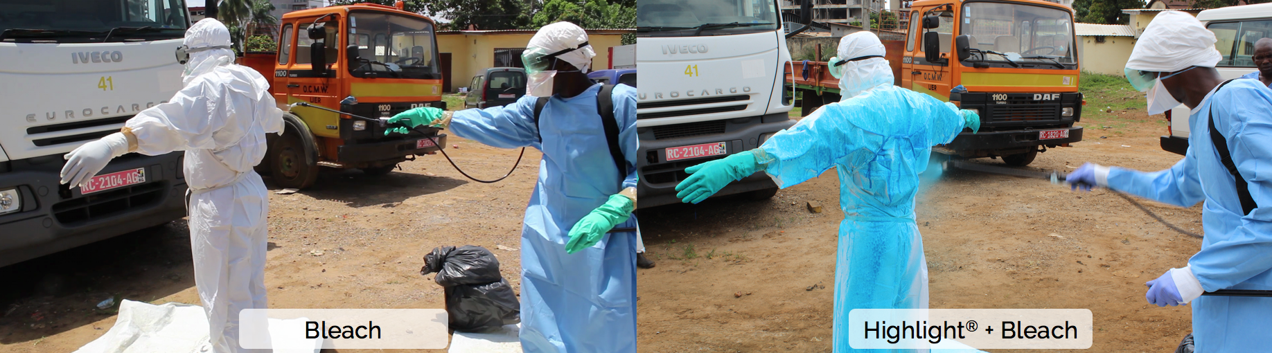 Healthcare personnel conduct spray decontamination doffing procedures with chlorine solution alone (left) and with Highlight®-enhanced chlorine solution (right) in Conakry, Guinea.