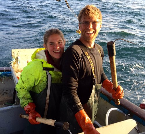 Cathryn Klusmeier and Jake Metzger fish on the F/V I Gotta as part of ALFA's apprenticeship program. Photo by Eric Jordan.