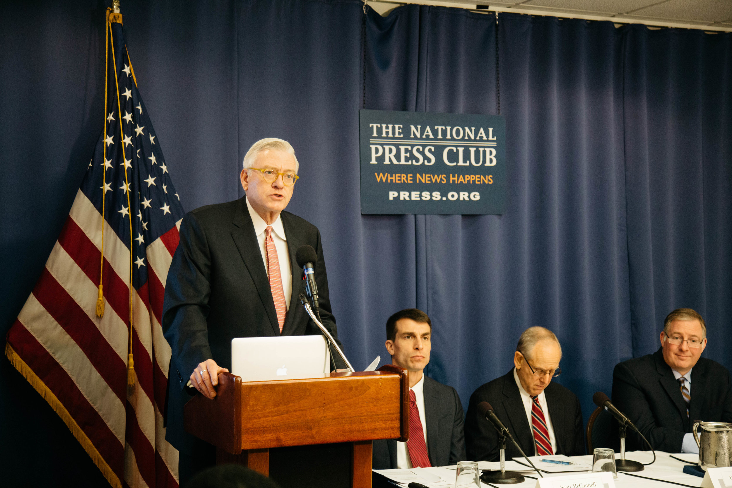 A. Larry Ross, president of A. Larry Ross Communications, opens a press conference on Dec. 4, 2018, at the National Press Club in Washington, D.C., to announce the findings of a new study conducted by LifeWay Research and sponsored by Chosen People Ministries and New York Times bestselling author Joel C. Rosenberg, that sheds light on Evangelicals' changing attitudes toward Israel and their effect on the Church's support of Israel, as Scott McConnell, executive director of LifeWay Research, Dr. Mitch Glaser, president of Chosen People Ministries, and Rosenberg prepare to discuss the findings.