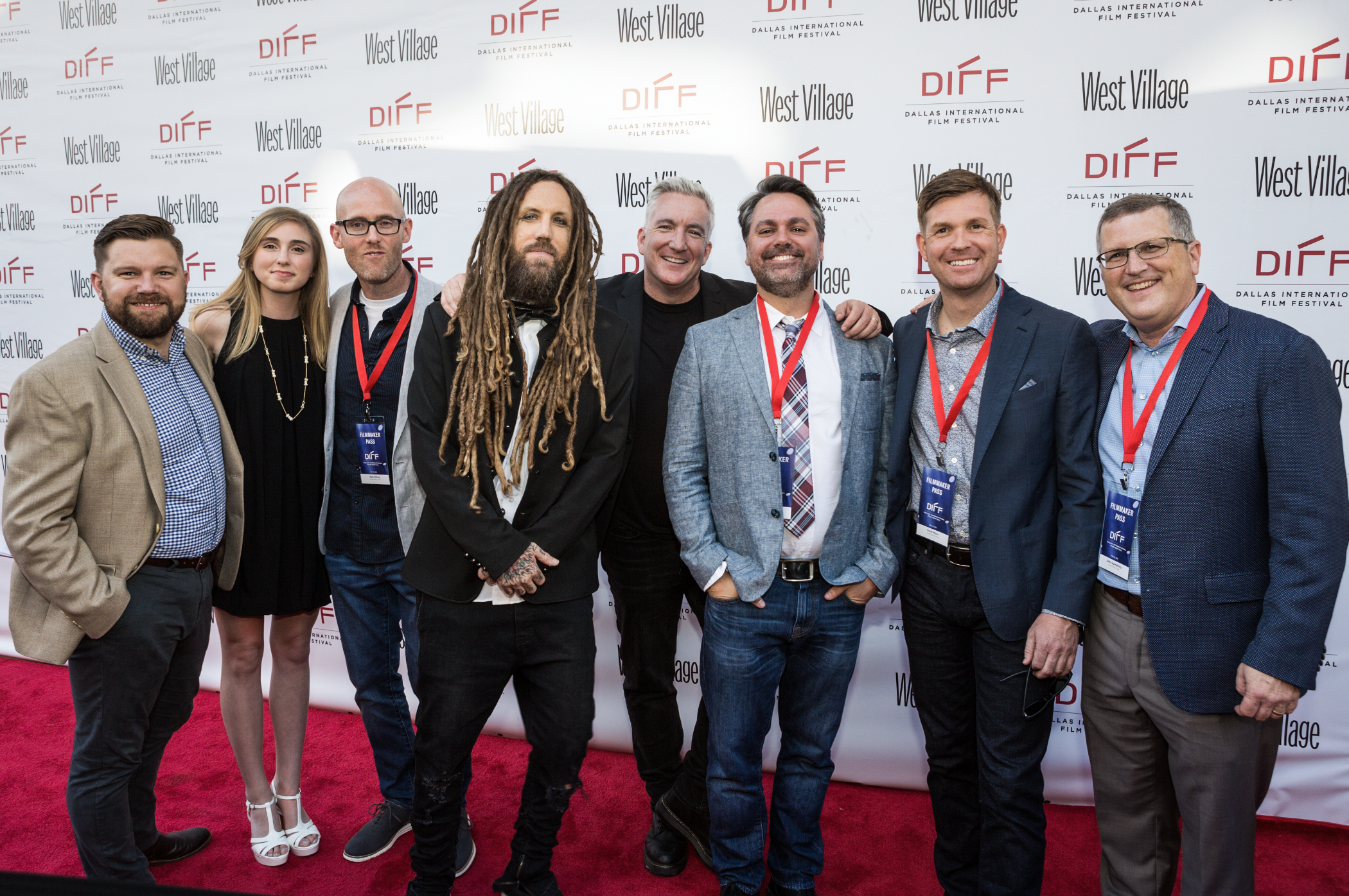 """Caption: (L to R) I Am Second President Lance Villio, Lane Ditore, Producer Sam Ditore, KoRn Founding Member Brian """"Head"""" Welch, Ditore Mayo Creative Director Kevin Shivers, Director Trey Hill, Director Scott Mayo and Producer John Humphrey walk the Red Carpet at the Dallas International Film Festival prior to the Texas Premiere of """"LOUD KRAZY LOVE."""""""