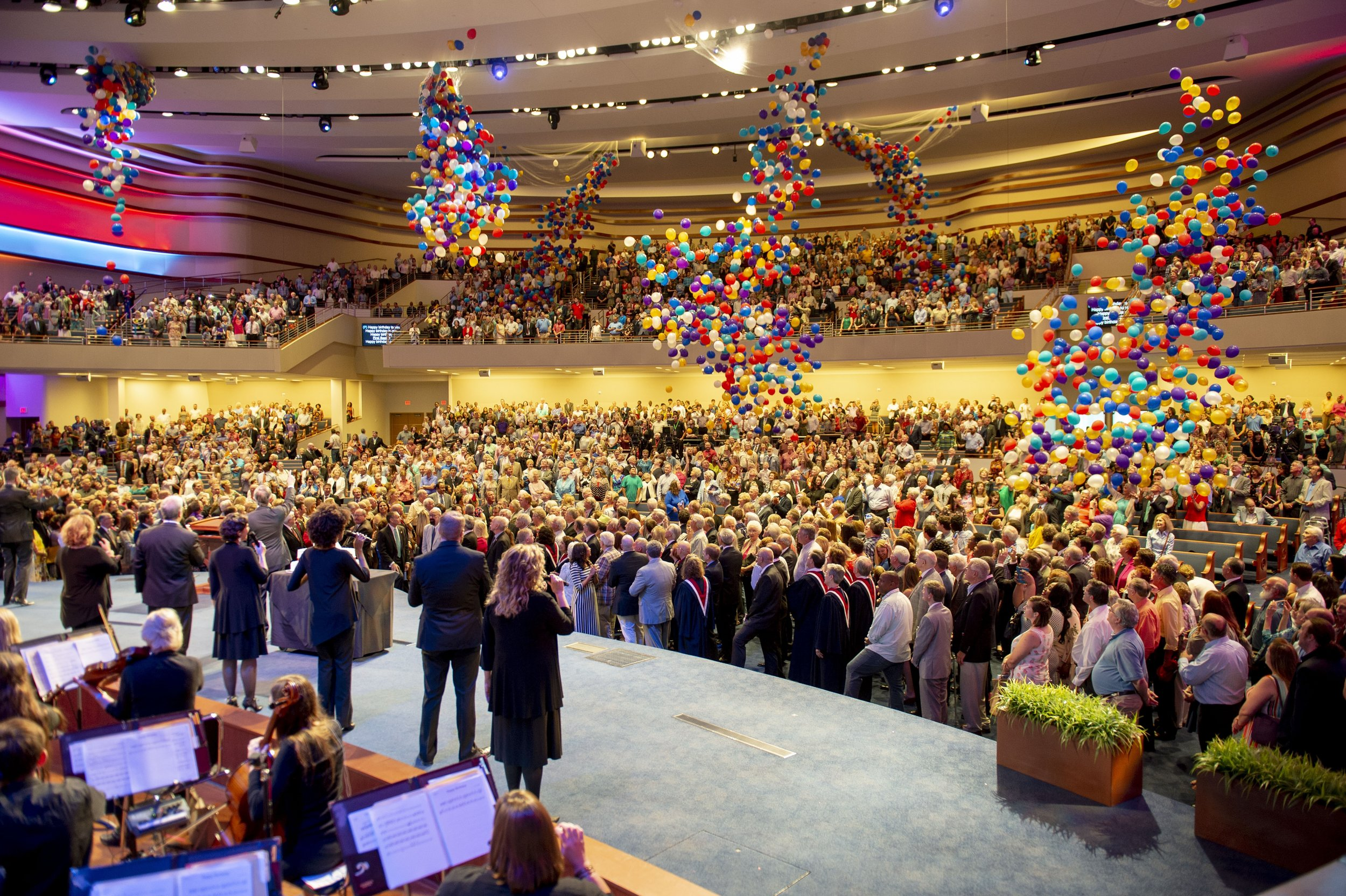 Balloons were released at the end of First Baptist Dallas' 150th Celebration Service.