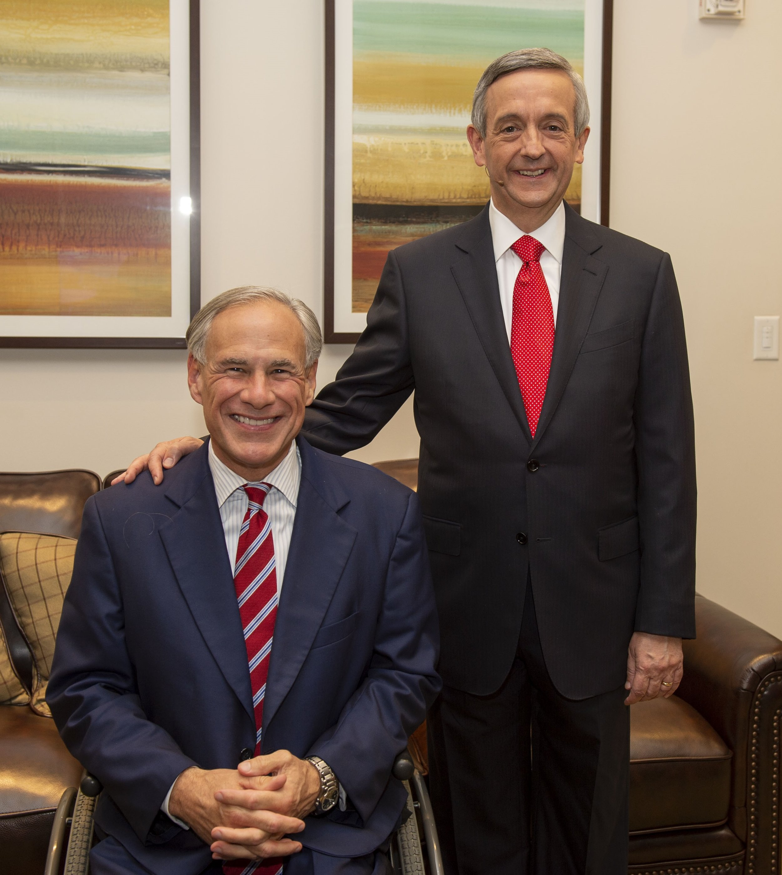 First Dallas Senior Pastor Dr. Robert Jeffress with Texas Gov. Greg Abbott