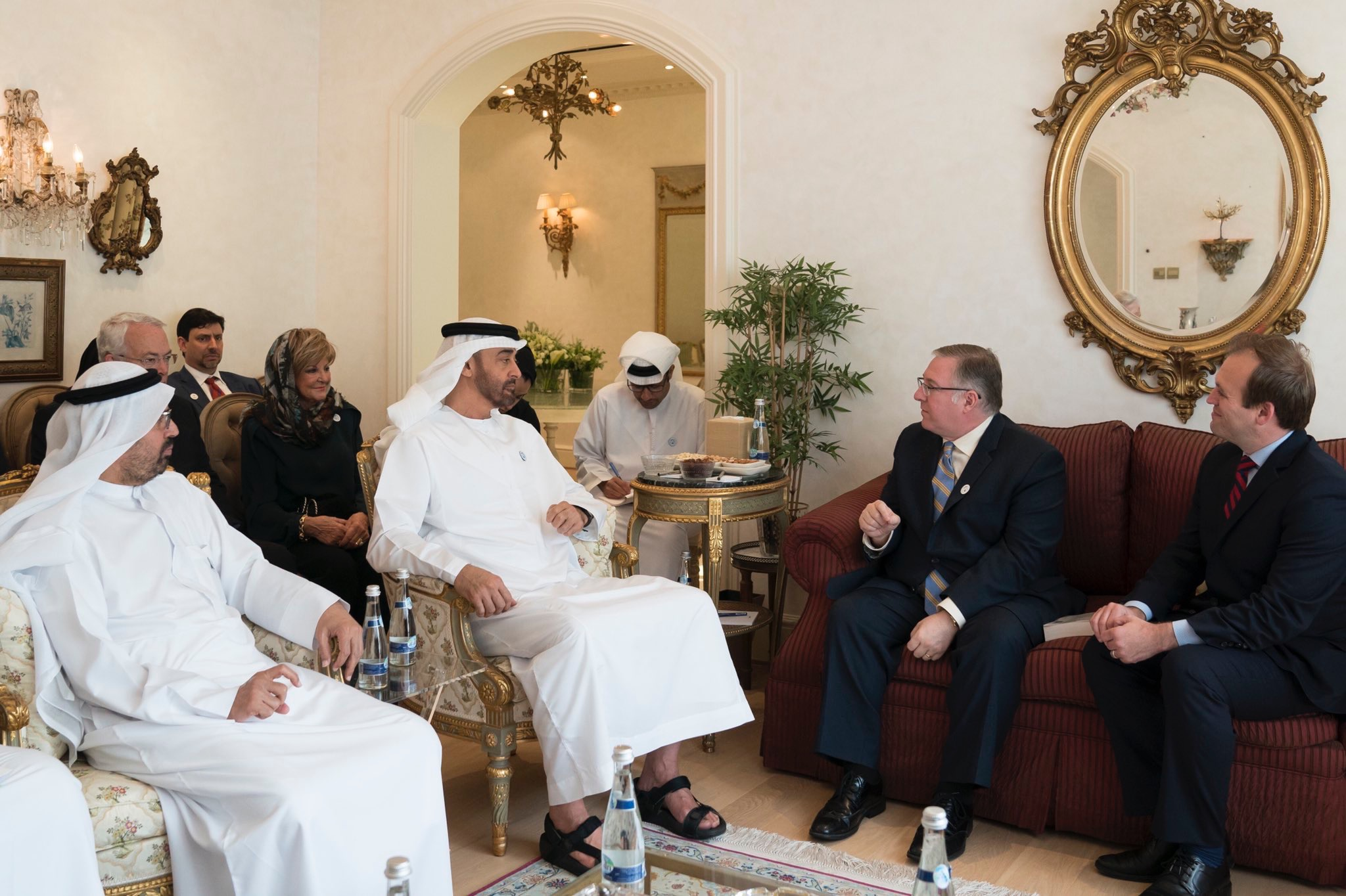 His Highness Sheikh Mohamed bin Zayed Al Nahyan, Crown Prince of Abu Dhabi (center), welcomes a delegation of American Evangelicals, including Joel C. Rosenberg (on couch, left) and Rev. Johnnie Moore (on couch, right), into his home.