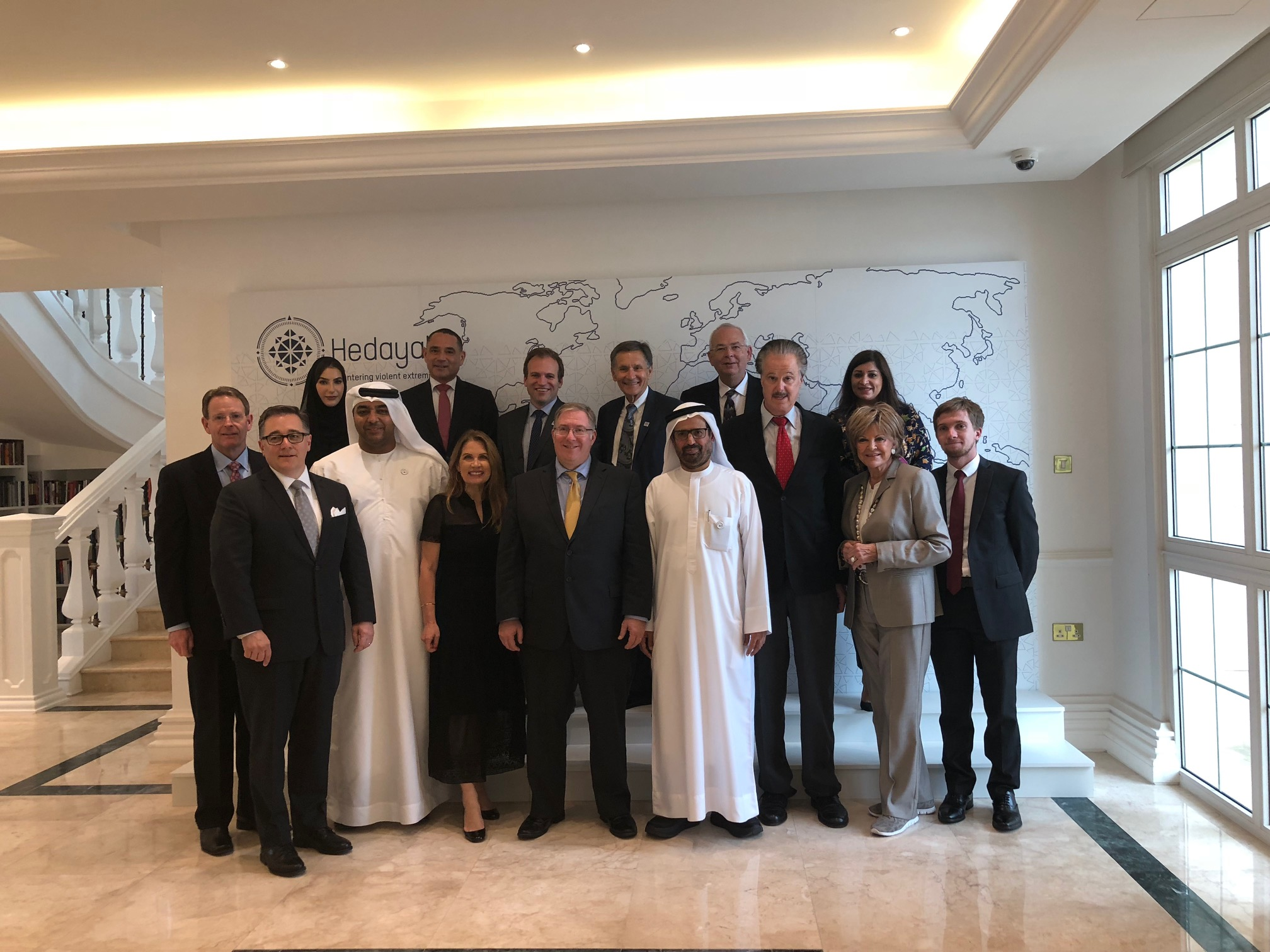 The American Evangelical delegation meets with His Excellency Maqsoud Kruse, executive director Hedayah, and his team in Abu Dhabi.