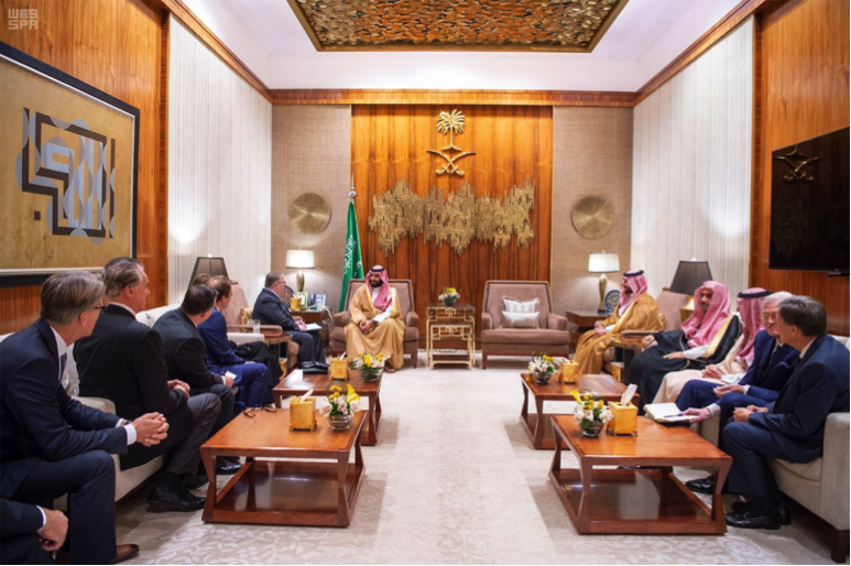 HRH Crown Prince Meets with a Delegation of American Evangelical Christian Leaders, currently on a visit to the Kingdom as part of a tour of the region (Photo Credit, SPA, 23-02-1440 AH).