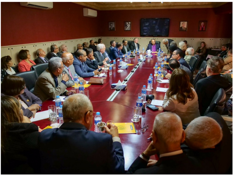 Dr. Andrea Zaki, President of the Protestant Churches of Egypt (in background), hosts the delegation in a roundtable discussion with 60 local Evangelical and Protestant Pastors and ministry leaders to discuss their vision for the future of the church in Egypt.