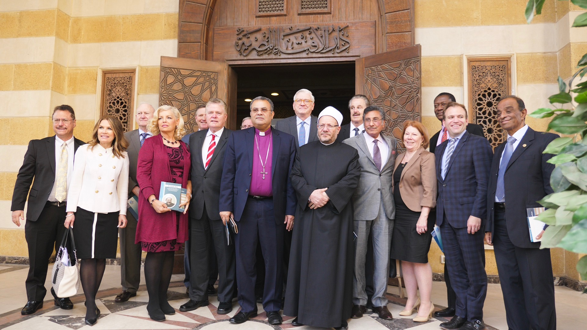 The Grand Mufti Shawqi Allam, the top Islamic scholar in Egypt and the region in charge of theological interpretation of cases before the civil court, meets with a delegation of American Evangelical leaders.