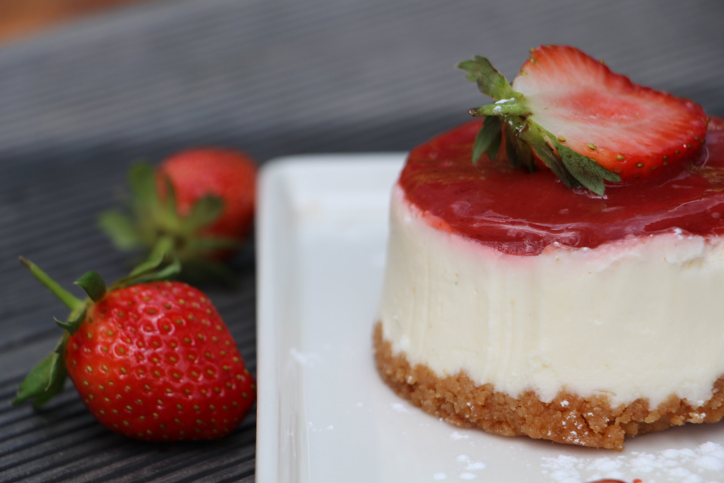 Soft cheesecake coupled with fresh strawberries will leave you fighting with bae for the last bite.