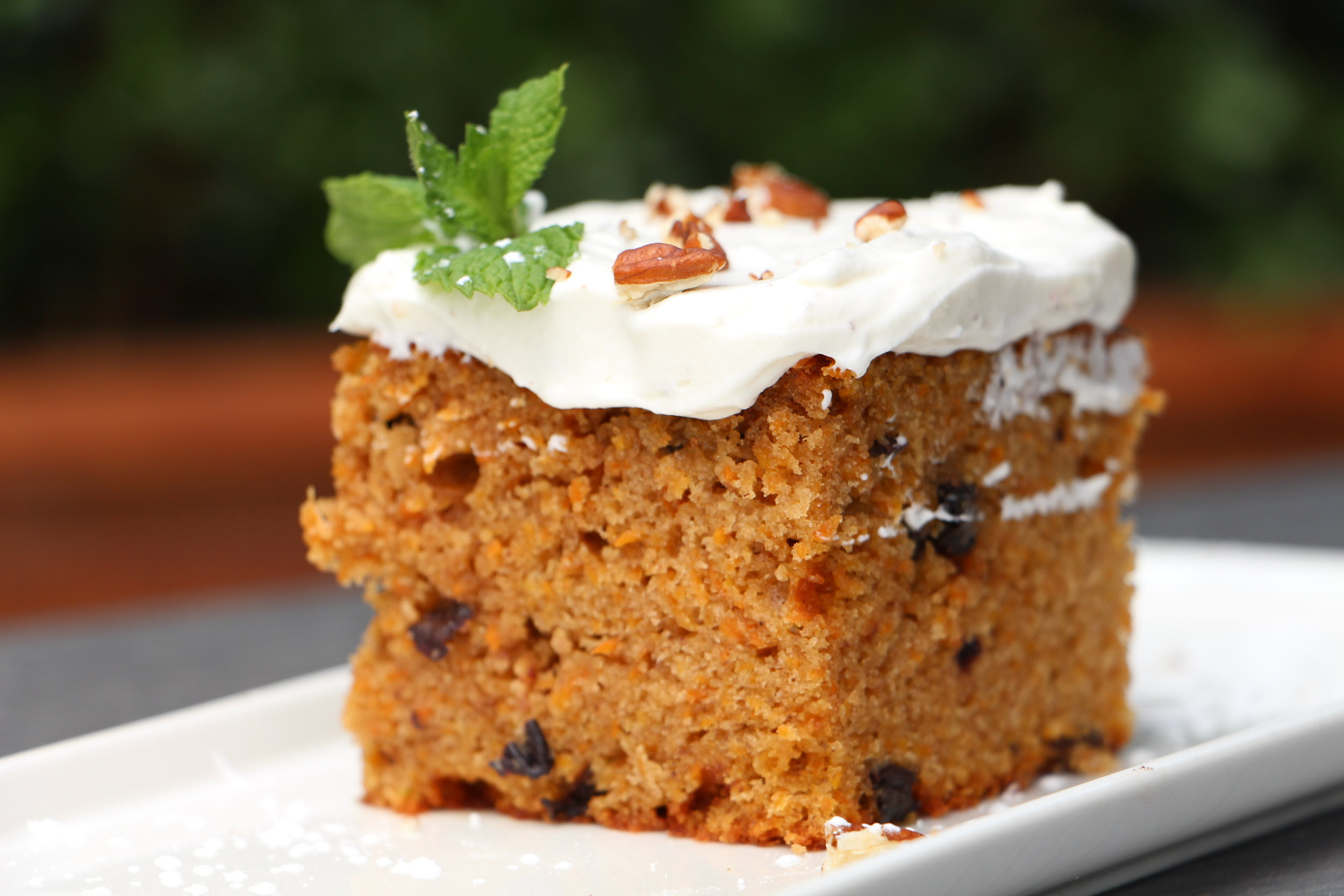 Veggies hidden in desserts are a great way to get everyone to fill their nutrient quotas, so make sure you try this sweet, moist carrot cake next time you visit the Urban Eatery.