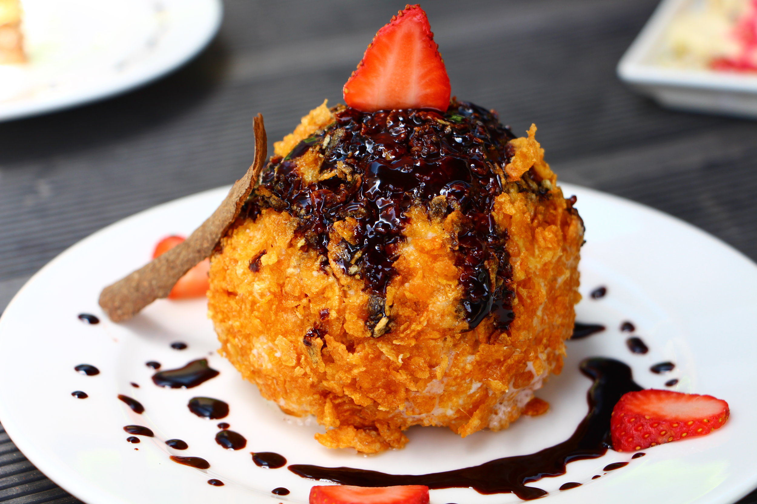Wait, what? Fried ice-cream? You heard that right! Indulge in pan-fried ice cream with a crispy, crunchy, cinnamony shell.