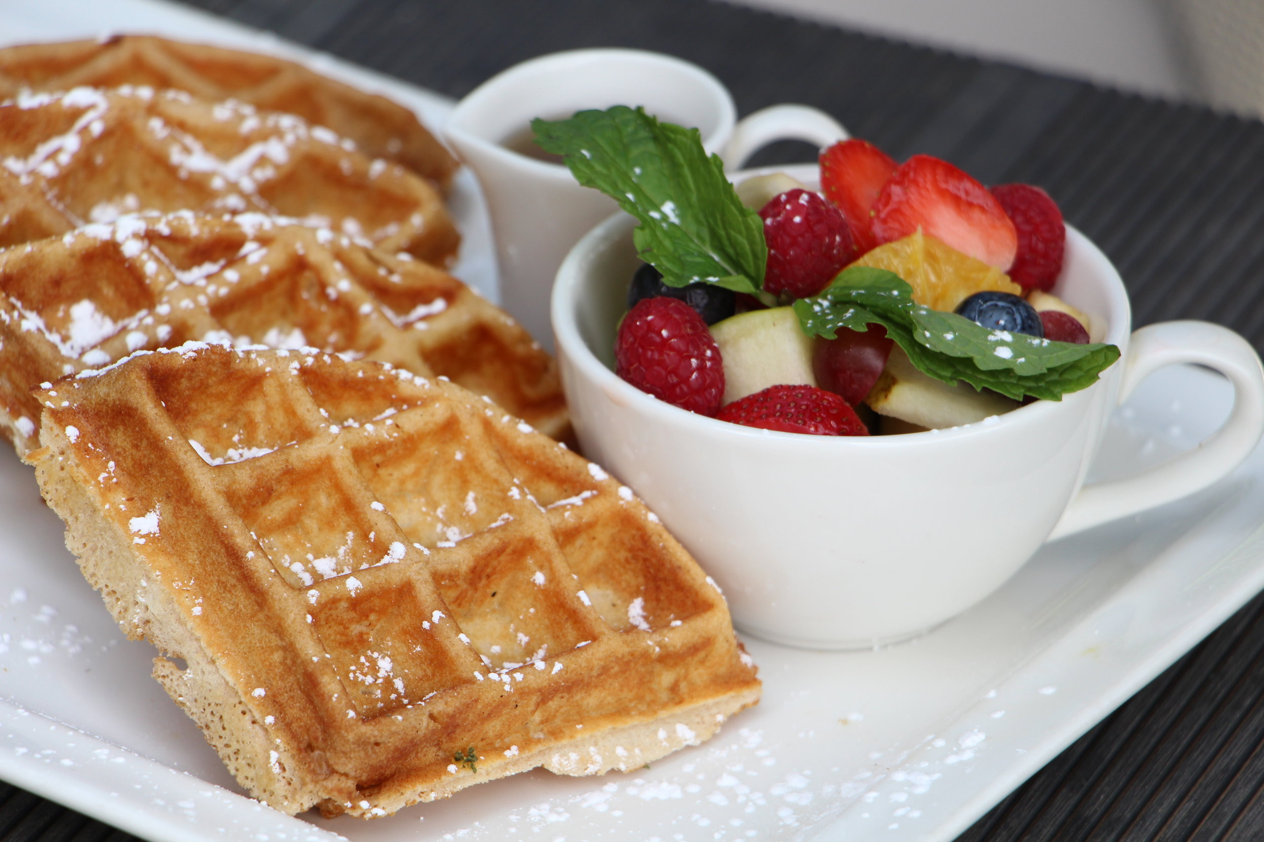 Breakfast is always a good idea - any time of day! Freshly-made and served warm, you can choose a side of fruit or a dollop of ice cream.
