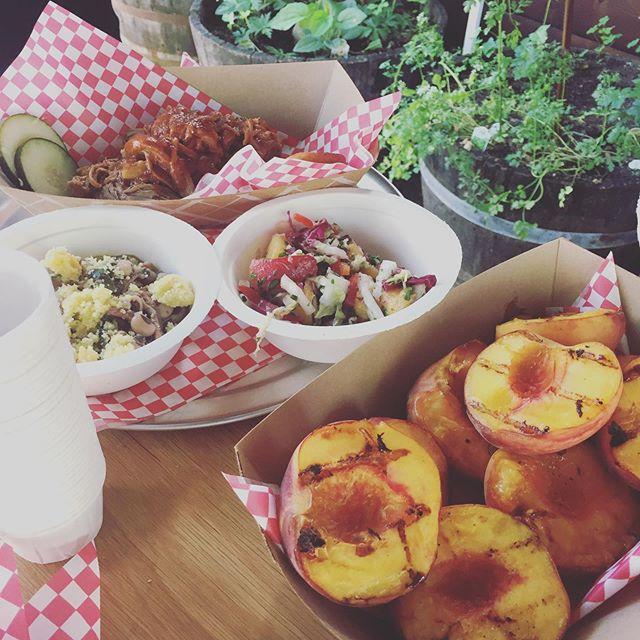 Peach Social is on til 8! Fresh Georgia peaches from @treeripefruit, #peach #bourbon old fashioneds, peach bbq pork and chickens, peach #pie. Don't miss.