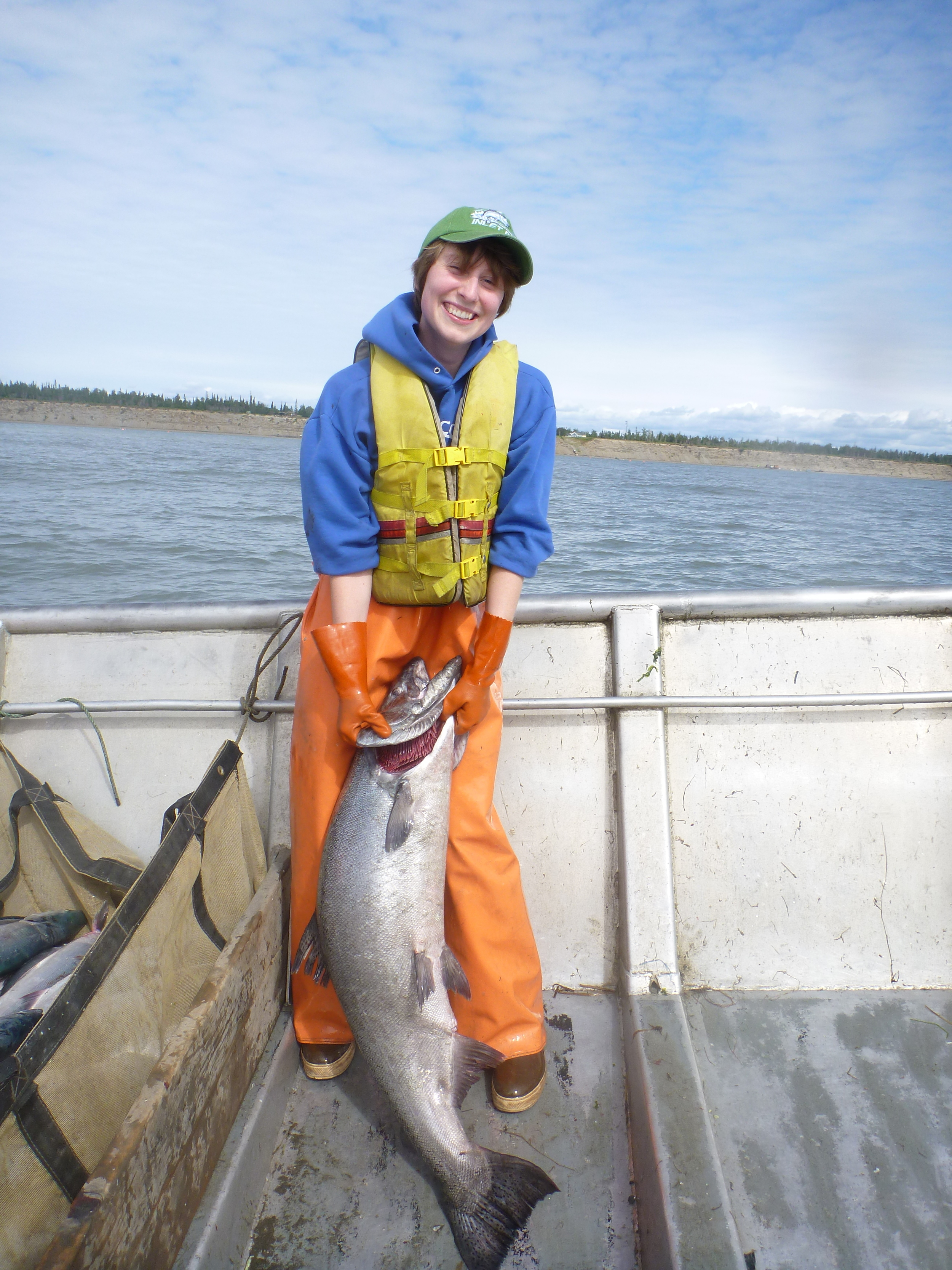 Hannah Harrison, my collaborator on much of this work, with a king salmon caught at her uncle's set-net site.