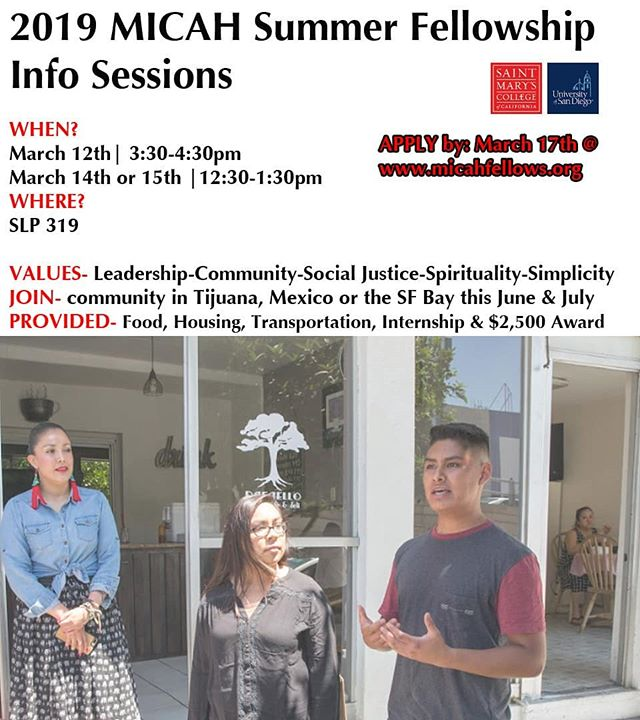 Info sessions coming up @usdtoreros for the 2019 cohort of #micahfellows Apply by 3.17. Spread the word!