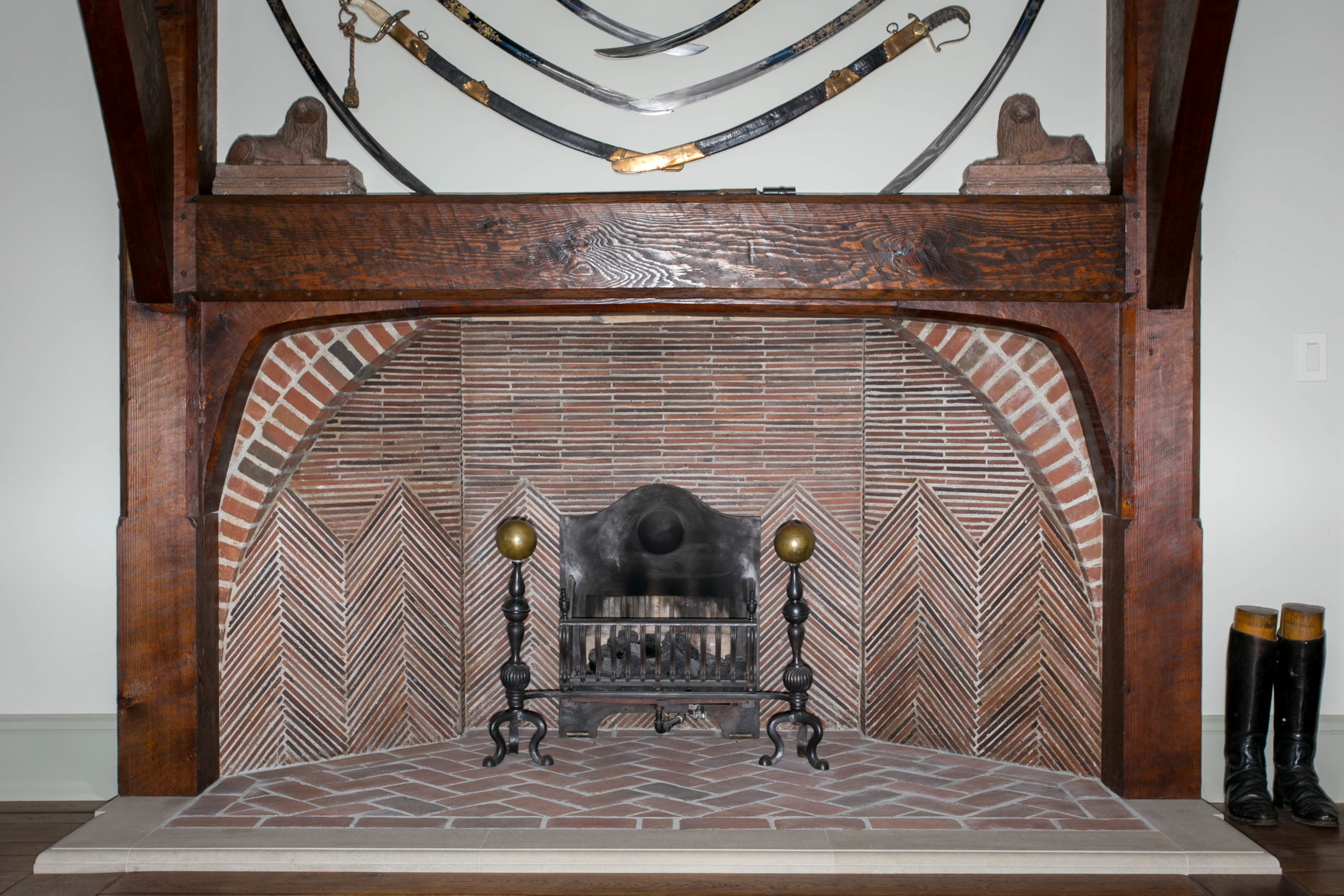 Rumford fireplaces were common from 1796, when Count Rumford first wrote about them, until about 1850. Jefferson had them built at Monticello. This Arts and Crafts design was originally built at Deanery Garden, Berkshire , England in 1899