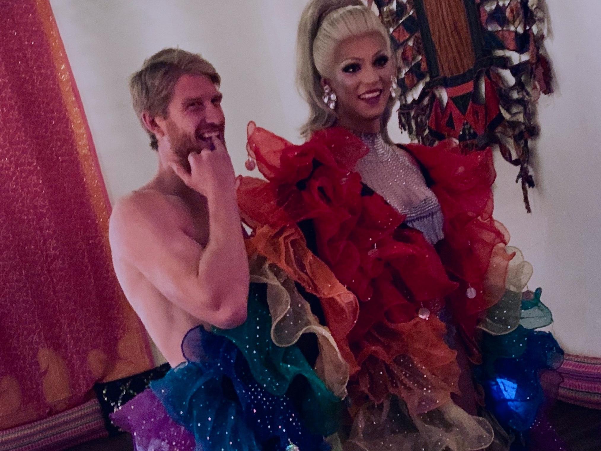 Our model Dan with Sam the Karaoke drag queen