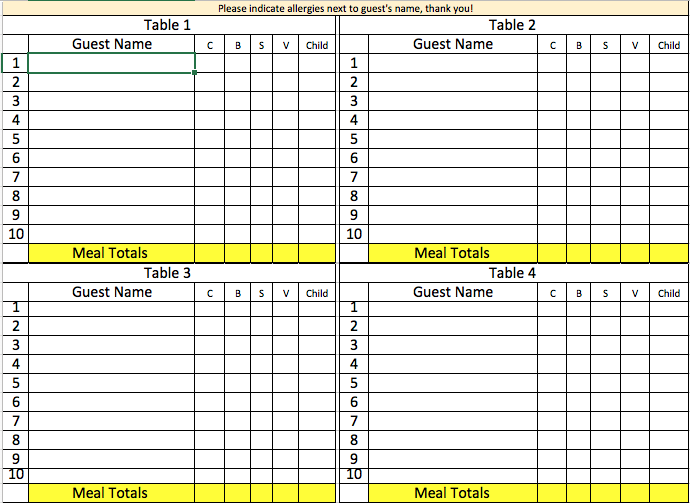 The seating chart template we ask couples to fill out