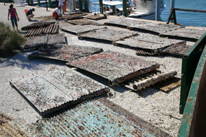 Illegally placed casitas after removal from the Florida Keys National Marine Sanctuary. Photo courtesy FKNMS/NOAA.