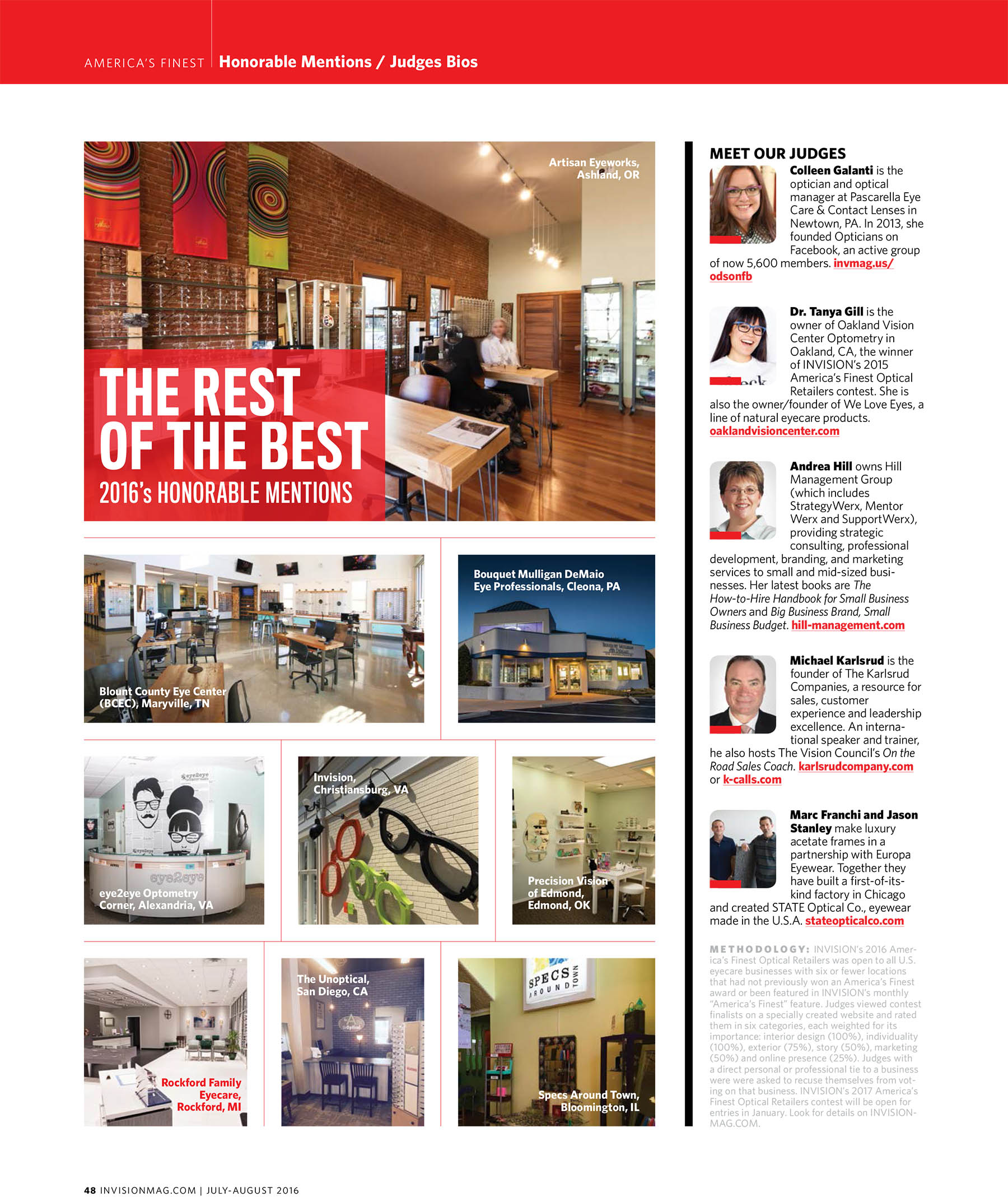 """Artisan Eyeworks of Ashland receives honorable mention from Invision Magazine for """"America's Finest Optical Retailer'>"""