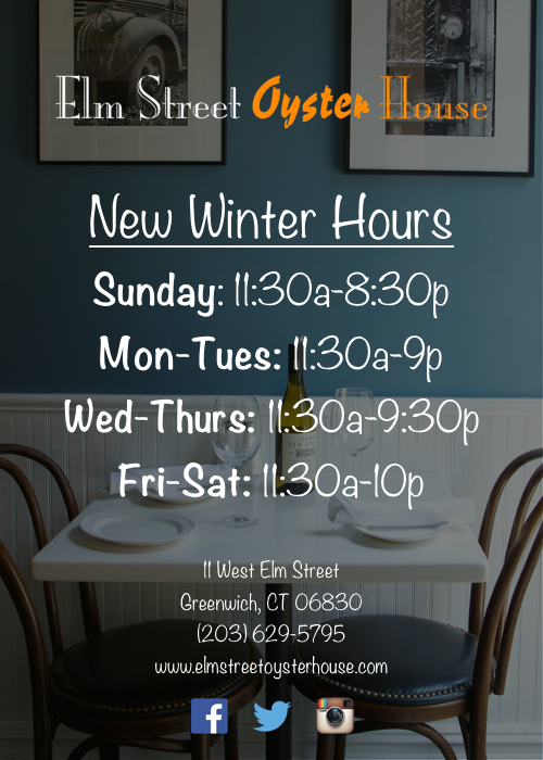 Elm Street Oyster House Winter Hours 2016
