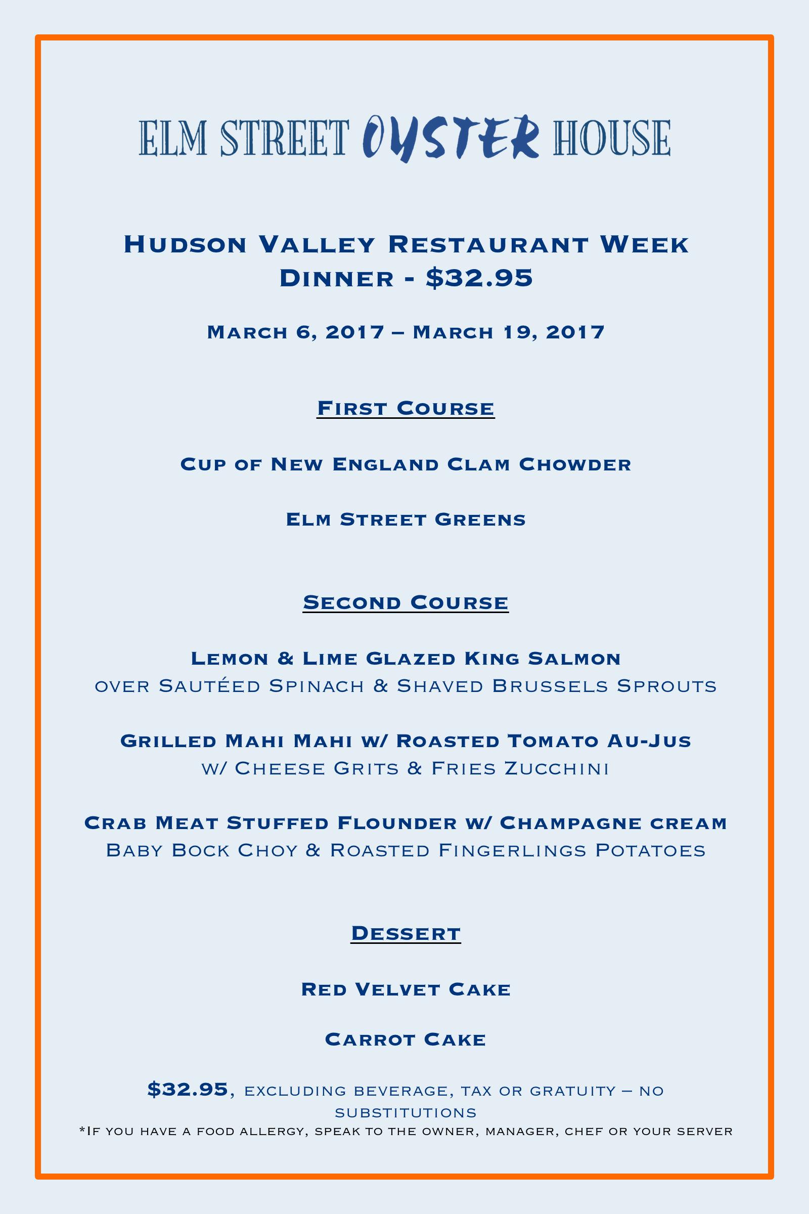 Elm Street Oyster House Hudson Valley Restaurant Week