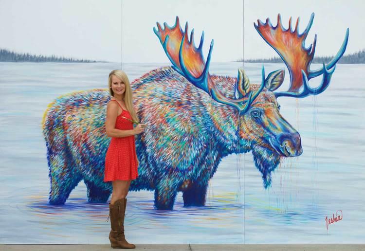 Teshia Art Contemporary colorful wildlife paintings and animal art prints - Moose in Lake