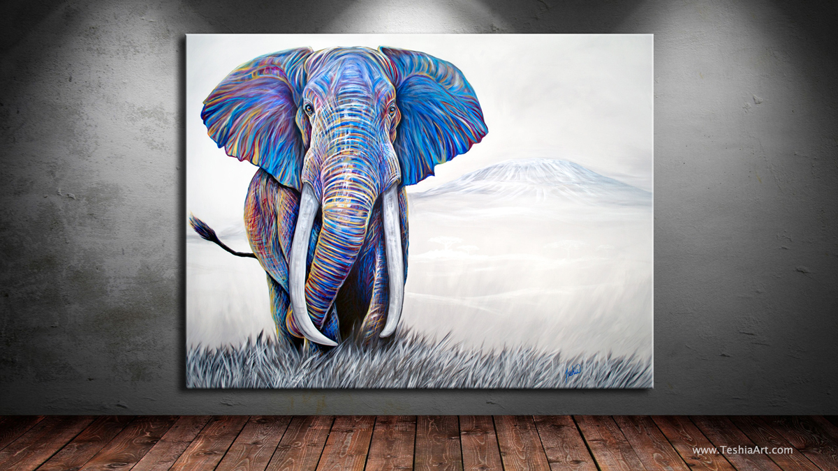 Contemporary Animal Art Painting - African Elephant in Tanzania