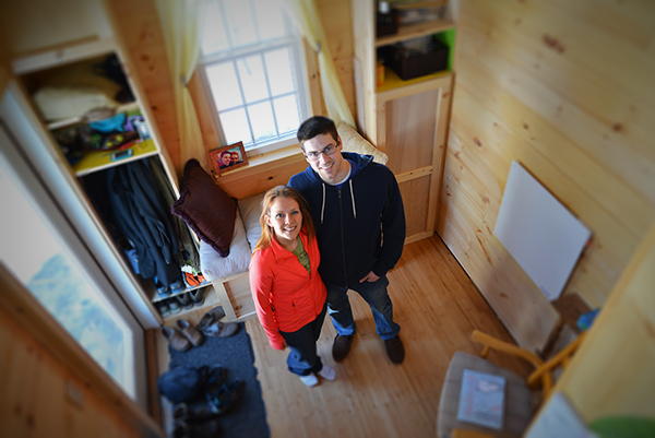 Jess Belhumeur and Dan Sullivan have plenty of room in their tiny home. (Joanna Detz/ecoRI News photos)