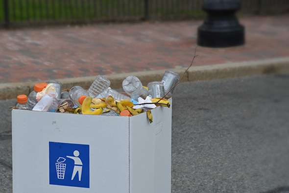 One bin takes all. Food scrap and recyclables weren't separated during the May 4 Cox Providence Rhode Races. (Joanna Detz/ecoRI News photos)