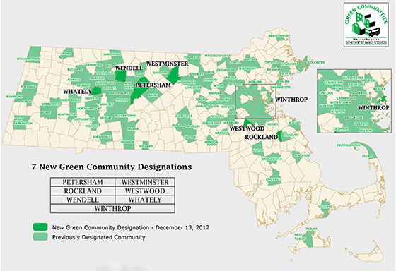 "Of Massachusetts' 351 cities and towns, 110 are now ""Green Communities,"" representing 2.9 million residents. (Department of Energy Resources)"