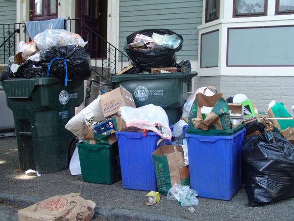 Trash day on Williams Street, near Brown