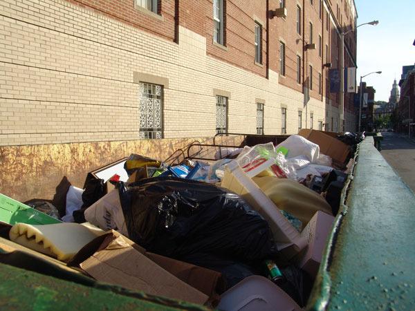 Dumpsters outside Johnson & Wales