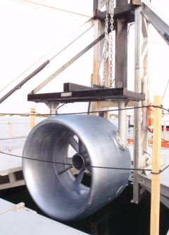 A tidal-power turbine used for testing by the Massachusetts Maritime Academy. (Mass. Maritime Academy)