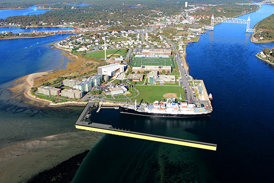 The Massachusetts Maritime Academy has announced a $7 million plan to build a tidal-energy dock jutting out from Taylor's Point at the end of the Cape Cod Canal. (Massachusetts Maritime Academy)