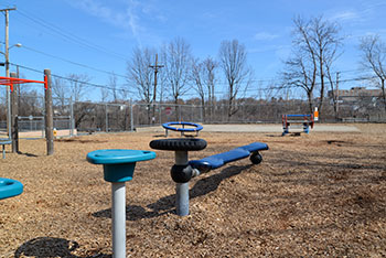 A playground used by charter-school students is right across the street from the former Tidewater Street gasification plant. (Joanna Detz/ecoRI News photos)