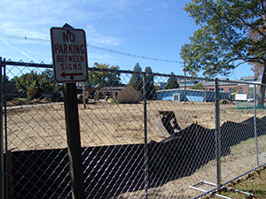 Work crews recently dug up grass and trees in front of the Greenhouse building on the URI campus to make room for more parking off Flagg Road. (Frank Carini/ecoRI News)