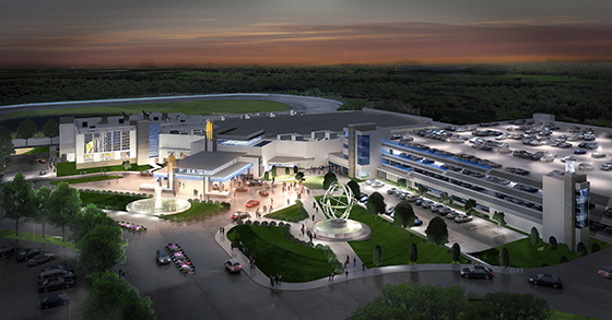 An artist's rendering of the proposed Plainridge Park Casino in Plainville, Mass. Penn National Gaming has been awarded the sole category 2 (slots) license available in Massachusetts. (Plainridge Racecourse)