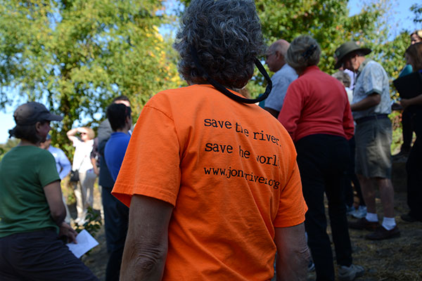 Pine DuBois' T-shirt says it all: 'Save the river. Save the world.'