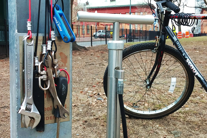 Providence's three new bike-repair stations have all the tools needed to perform basic maintenance. (Kevin Proft/ecoRI News)
