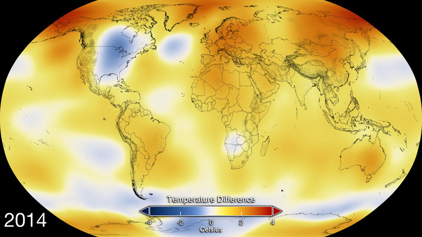 The Northeast joined much of the eastern half of the United States as one of the few moderate temperature zones in 2014. (NASA)