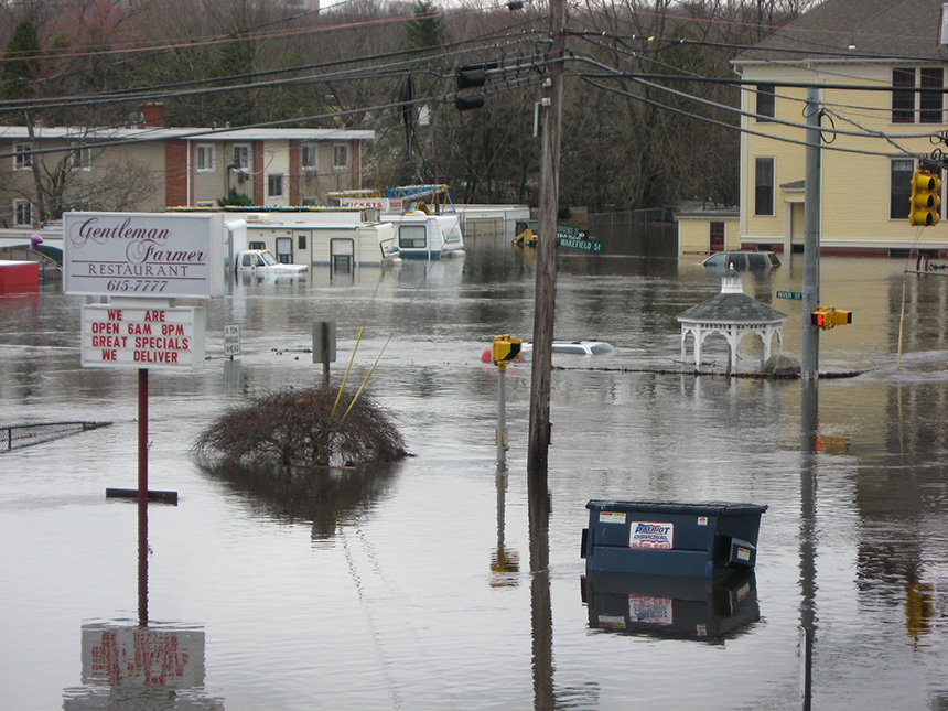 The floods of March 2010 left the intersection of Providence, River and Wakefield streets in West Warwick, R.I., underwater. (NOAA)