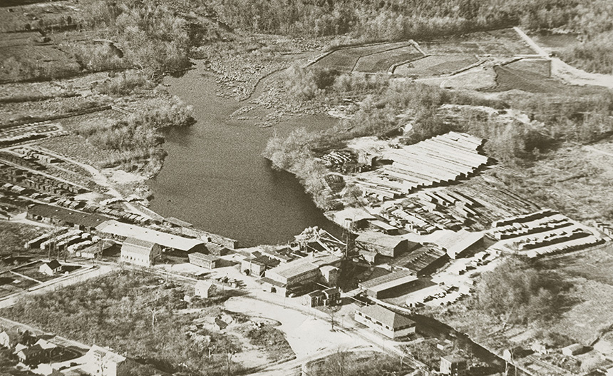 Aerial view of the Acushnet Sawmill, circa 1950. (Buzzards Bay Coalition)