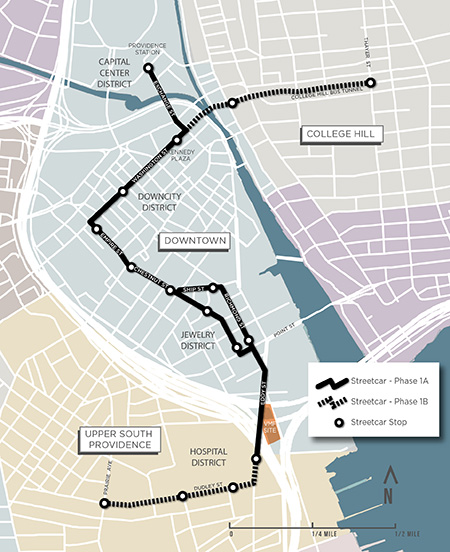 The latest version of the Providence streetcar plan is for it to have two phases, 1.6-mile route and a 0.6-mile one. Click  here  for larger image. (Providence Streetcar)