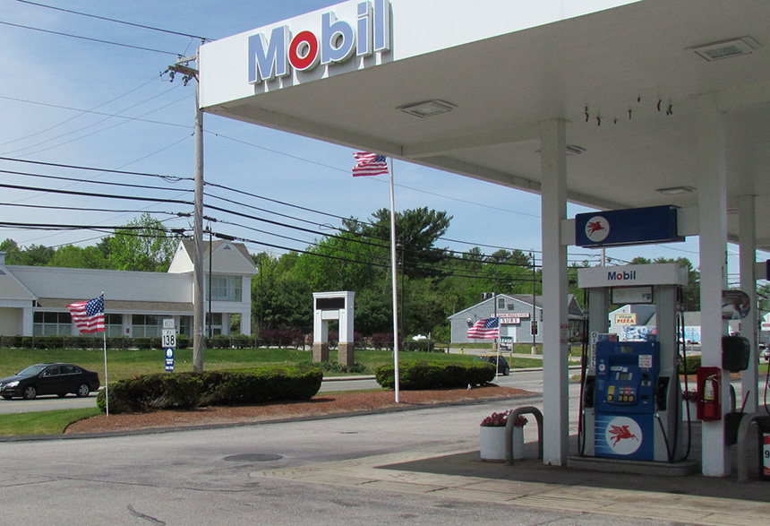 This Mobil gas station in Richmond, R.I., was at the center of a '60 Minutes' story in the early 1980s about leaking underground fuel tanks. Three decades later, some 1,300 underground fuel tanks in Rhode Island leak gasoline and other contaminants. (Tim Faulkner/ecoRI News)