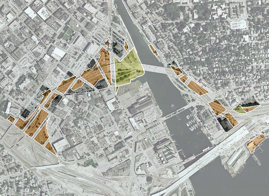 The  21 parcels  (shaded brown) that make up the I-195 land total 18.8 acres. Shaded green is park space that represents another 5 or so acres. A new baseball stadium for the Pawtucket Red Sox has been proposed for Parcel 4. (Route 195 Redevelopment District Commission)