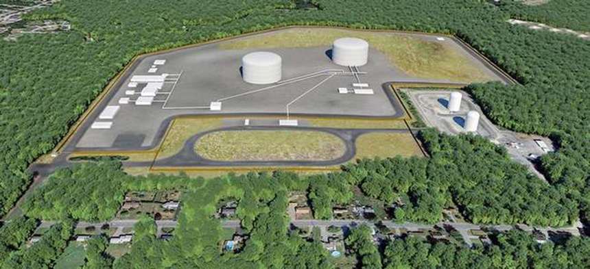 An artist's rendering of what the retooled Acushnet, Mass., LNG site would look like with two bigger storage tanks for liquified natural gas. The smaller tanks currently on the property, to the right, would remain. (Eversource Energy)