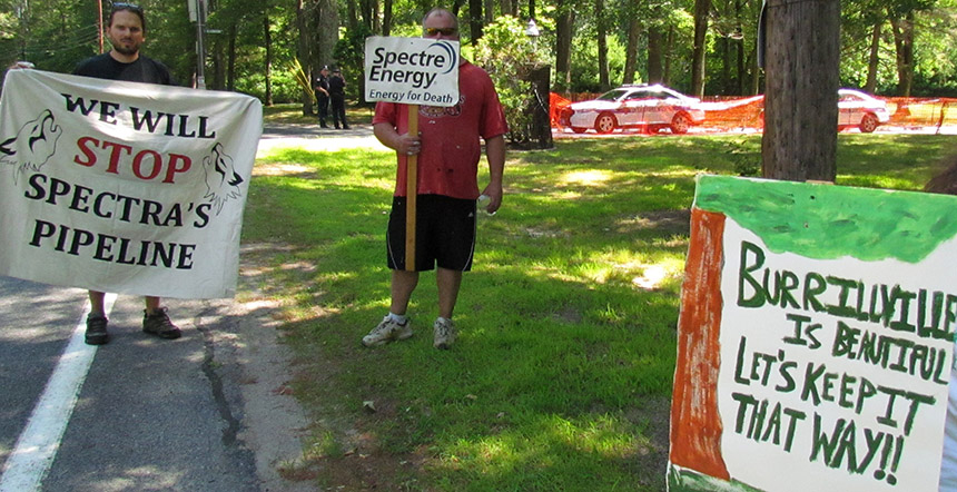 A protest was recently held outside the Algonquin pipeline compressor station in Burrillville, R.I., the site of the proposed Clear River natural-gas power plant. (Tim Faulkner/ecoRI News)