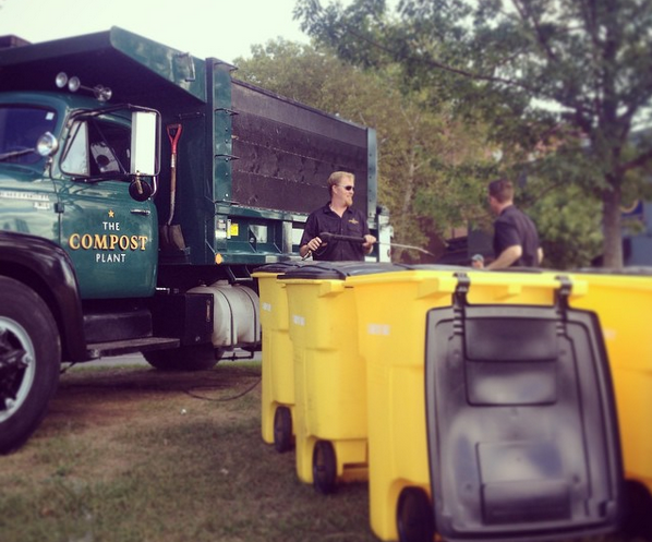 Nat Harris, left, and Leo Pollock, co-founders of The Compost Plant, were on hand at the Sept. 20 festival with an army of compost bins.