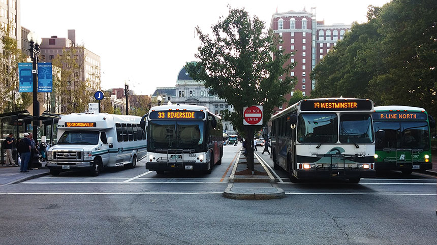 RIPTA is evaluating how to offer passengers better fare options, such as reloadable smart cards similar to the MBTA's Charlie Cards, to improve efficiency and increase ridership, while simultaneously considering increasing fares to overcome annual budget deficits. (Kevin Proft/ecoRI News)