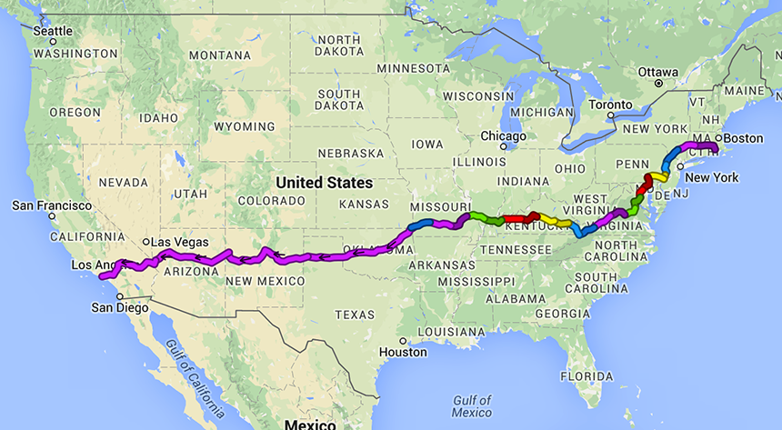 Luke Rein's 3,000-mile bike route. (Trailrunner/Google Maps)
